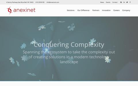 Screenshot of Home Page anexinet.com - Innovative Digital Technology and Cloud Based Solutions - captured Jan. 20, 2016