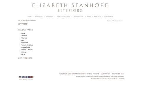 Screenshot of Site Map Page elizabethstanhope.co.uk - Elizabeth Stanhope - captured Oct. 2, 2014