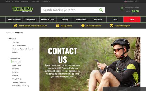 Screenshot of Contact Page tweekscycles.com - Contact Us | Tweeks Cycles - captured Sept. 23, 2018