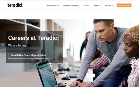 Screenshot of Jobs Page teradici.com - Careers - captured April 15, 2018