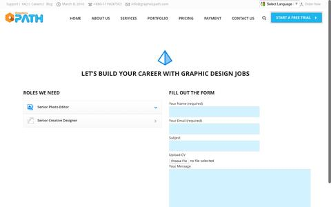 Screenshot of Jobs Page graphicspath.com - Graphic design jobs description for Graphic designers - captured March 7, 2016