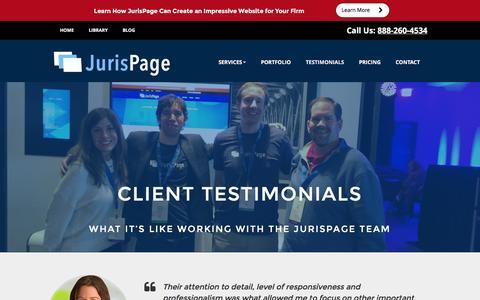 Screenshot of Testimonials Page jurispage.com - Client Testimonials   Attorney Website Design   JurisPage - captured Jan. 9, 2016