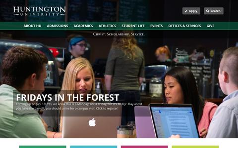 Screenshot of Home Page huntington.edu - Huntington University - captured Jan. 14, 2016