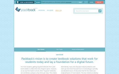 Screenshot of About Page packbackbooks.com - Our Vision - captured July 19, 2014
