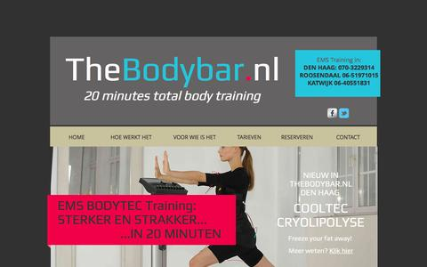 Screenshot of Home Page thebodybar.nl - TheBodybar.nl EMS training, fitness met snel resultaat - captured Feb. 23, 2016