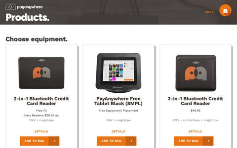 Screenshot of Products Page payanywhere.com - PayAnywhere - captured Oct. 23, 2018
