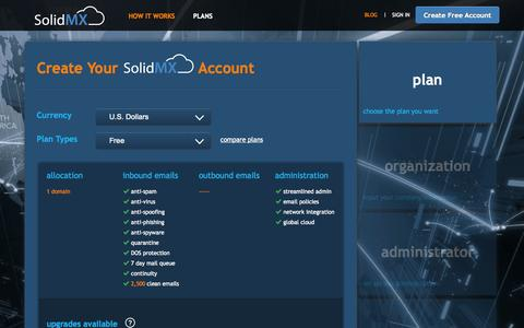 Screenshot of Signup Page solidmx.com - FREE Spam Filtering Service - Free Email Protection & Backup by SolidMX.com   Signup - captured Oct. 1, 2014