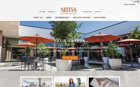 Screenshot of Home Page artesawinery.com - Artesa Winery - captured Jan. 12, 2018