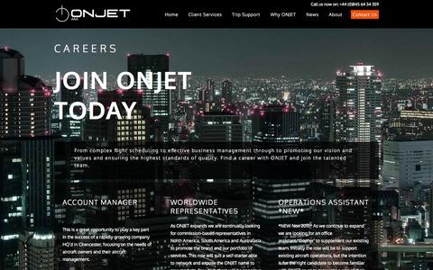 Screenshot of Jobs Page onjet.co.uk - ONJET - Careers - Bespoke Flight Operational Support and Private Aircraft Management - captured Oct. 7, 2014