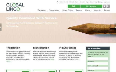 Screenshot of Home Page global-lingo.com - Global Lingo - Professional Translation and Transcription ServicesGlobal Lingo | Transcription, minute taking, translation and interpreting services - captured July 13, 2018