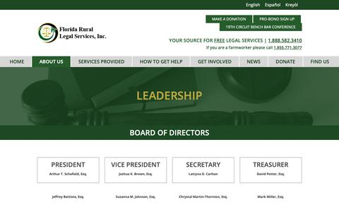 Screenshot of Team Page frls.org - Leadership – Florida Rural Legal Services - captured Oct. 10, 2018