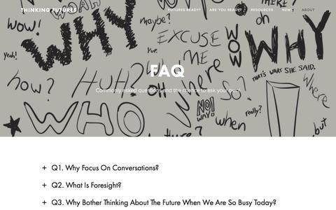 Screenshot of FAQ Page thinkingfutures.net - FAQ — Thinking Futures - captured Sept. 21, 2018