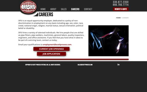 Screenshot of Jobs Page scottprocess.com - Careers | SPSI - captured Oct. 1, 2018