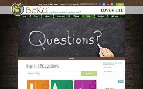 Screenshot of FAQ Page bokulovelife.com - FAQs - captured Oct. 5, 2014