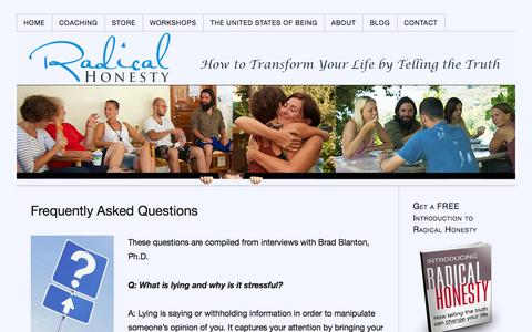 Screenshot of FAQ Page radicalhonesty.com - Frequently Asked Questions - captured Oct. 7, 2014