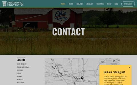 Screenshot of Contact Page greaterohio.org - Contact — Greater Ohio Policy Center - captured Nov. 5, 2018