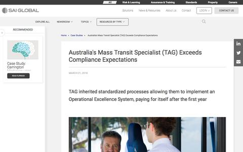 Screenshot of Case Studies Page saiglobal.com - Australia's Mass Transit Specialist (TAG) Exceeds Compliance Expectations - captured Dec. 12, 2019