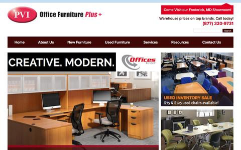 Screenshot of Home Page pvipvi.com - New & Used Office Furniture in MD, DC, VA | Office Chairs, Desks & File Cabinets for Delivery - captured Jan. 24, 2016