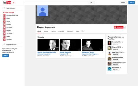 Screenshot of YouTube Page youtube.com - Rayner Agencies  - YouTube - captured Nov. 4, 2014
