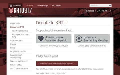 Screenshot of Support Page trinity.edu - Donate to KRTU | KRTU91.7 - captured June 13, 2016