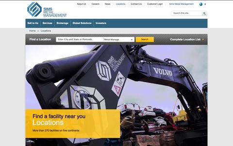 Screenshot of Locations Page simsmm.com - More than 270 recycling facilities around the world | Scrap Metal Recycling | Scrap Metal Yard| Scrap Car Recycling | Scrap Metal Sales | Scrap Metal Purchasing  | Sims Metal Management Global - captured Sept. 19, 2014