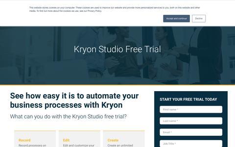 Screenshot of Trial Page kryonsystems.com - Kryon Studio Free Trial | Kryon - captured Sept. 19, 2018