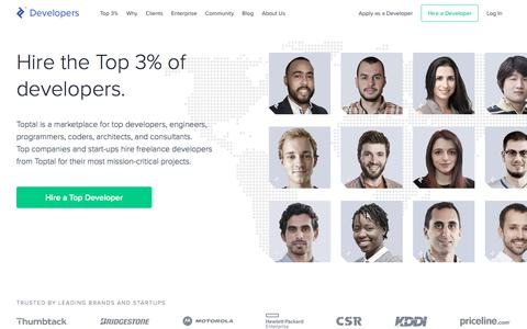 Screenshot of Developers Page toptal.com - Hire Freelance Developers from the Top 3% - Toptal® - captured Oct. 30, 2019
