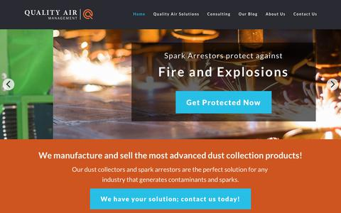 Screenshot of Home Page qamanage.com - Quality Air Management: Spark Arrestors & Dust Collectors - USA - captured Aug. 7, 2017