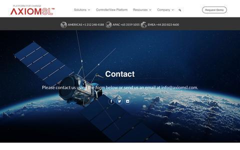 Screenshot of Contact Page axiomsl.com - Contact - AxiomSL - captured May 13, 2018