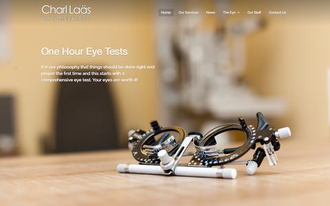 Screenshot of Home Page charllaas.com - Charl Laas Optometrists - captured Oct. 2, 2014