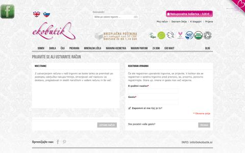 Screenshot of Login Page ekobutik.si - Prijava stranke - captured Oct. 6, 2014