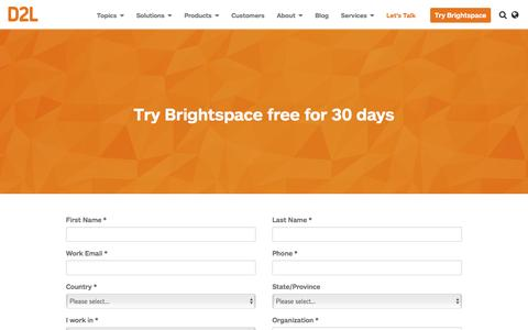 Screenshot of Trial Page d2l.com - Brightspace LMS Free Trial | D2L - captured Sept. 18, 2016