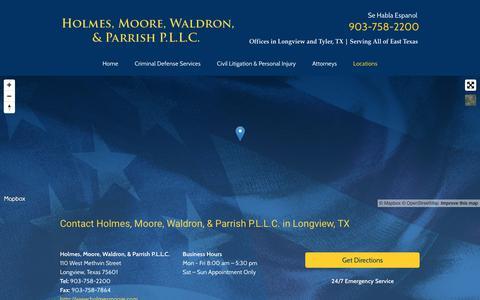Screenshot of Locations Page holmesmoore.com - Contact Holmes, Moore, Waldron, & Parrish P.L.L.C. Longview - captured June 29, 2018