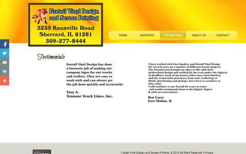 Screenshot of Testimonials Page foxtailvinyldesign.com - Testimonials - captured Nov. 3, 2014