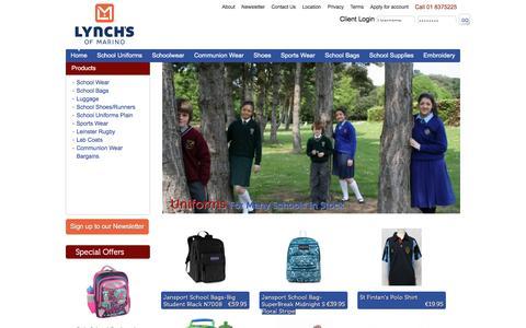 Screenshot of Home Page lynchschooluniforms.com - Lynches School Uniforms Ireland School Bags Kids Shoes Schoolwear Communion Wear - captured Aug. 23, 2016
