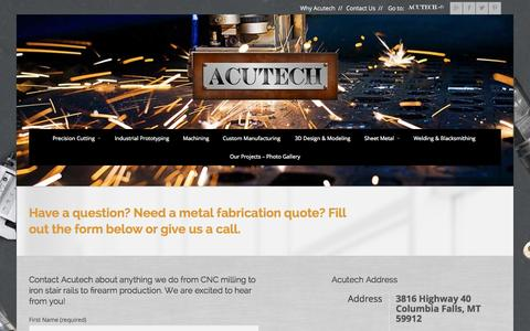 Screenshot of Contact Page acutechworks.com - Contact Acutech | Metal Works Shop | Metal Fabrication Quote - captured Oct. 4, 2014