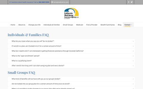Screenshot of FAQ Page medical-ins.com - FAQ | California Well Being Insurance Agency - captured Sept. 26, 2018