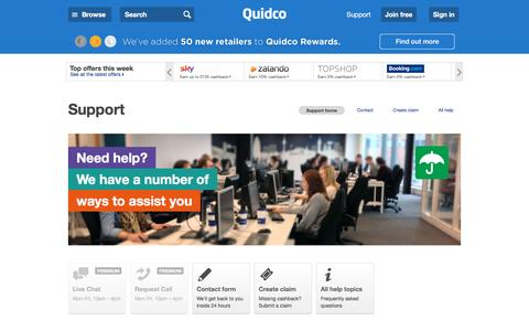 Screenshot of Support Page quidco.com - Help | Quidco - captured July 10, 2016