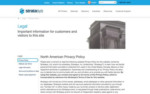 Legal Privacy Statement | Stratasys