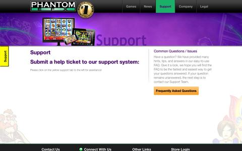 Screenshot of Support Page phantomefx.com - Support : Williams Interactive / Phantom EFX - captured Sept. 29, 2014