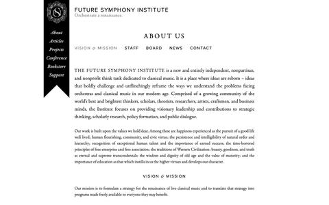 Screenshot of About Page futuresymphony.org - About Us | Future Symphony Institute - captured Oct. 18, 2018