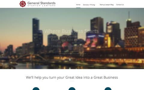 Screenshot of Home Page generalstandards.co - General Standards - Startup Lawyers - Where Business Starts - captured Sept. 29, 2014