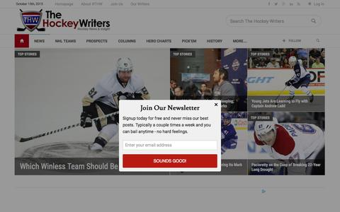 Screenshot of Home Page thehockeywriters.com - The Hockey Writers - hockey news and insight - captured Oct. 15, 2015