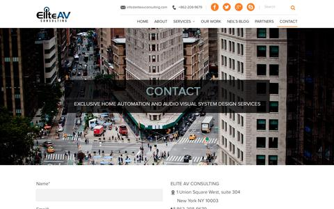 Screenshot of Contact Page eliteavconsulting.com - Audio Visual System Design Services and Consultingeliteavconsulting.com - captured July 17, 2018