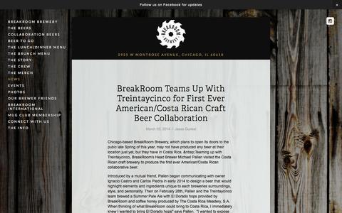 Screenshot of Press Page breakroombrewery.com - News — BreakRoom Brewery - captured Sept. 30, 2014