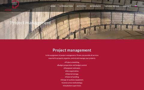 Screenshot of Services Page pirsonholland.com - Project management - Pirson Refractories - captured Sept. 28, 2018