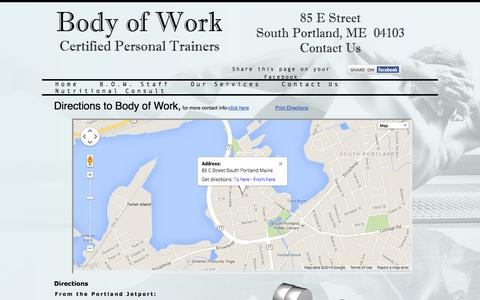 Screenshot of Maps & Directions Page bodyofworkme.com - Body of Work Directions - captured Oct. 5, 2014