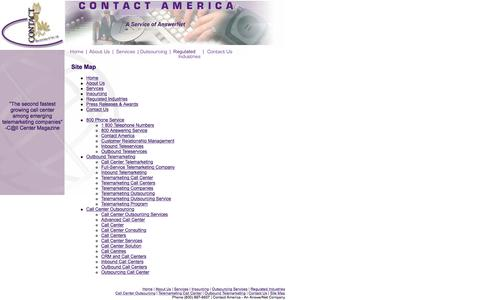 Screenshot of Site Map Page contact-america.com - Contact America: Find customer relationship management and call centers here. - captured July 8, 2018