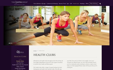 Screenshot of qhotels.co.uk - Our Superb Health and Fitness Clubs Across the UK - QHotels - captured Sept. 18, 2015