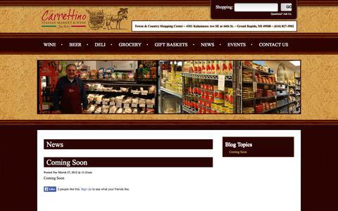 Screenshot of Blog carrettinomarket.com - Carrettino Italian Market & Wine 4301 Kalamazoo SE Grand Rapids MI (616) 827-3902 - captured Oct. 2, 2014